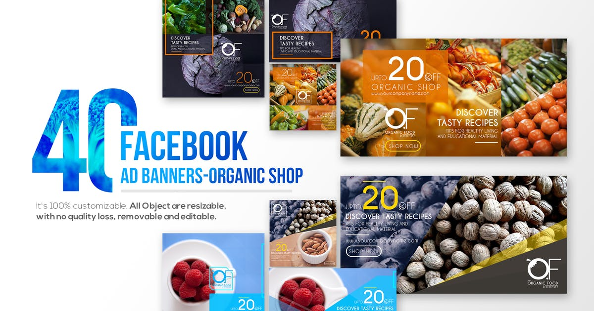 Download 40 Facebook Ad Banners-Organic Shop by Wutip
