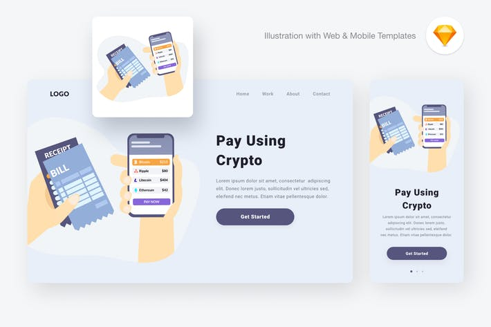 Thumbnail for Paying via cryptocurrencies (Sketch, SVG)