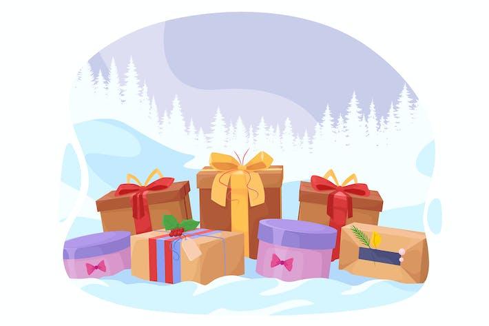 Thumbnail for Много подарков на новогоднем фоне