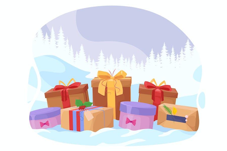 Muchos regalos en el fondo de Año Nuevo
