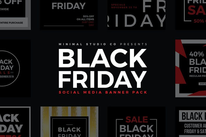 Thumbnail for Black Friday Social Media Banners V1