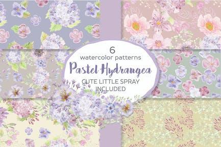 Pastel Hydrangea Watercolor Patterns
