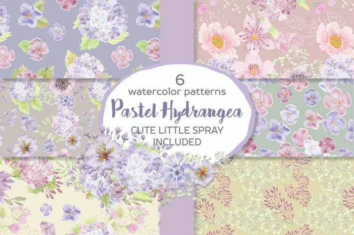 Cover Image For Pastel Hydrangea Watercolor Patterns