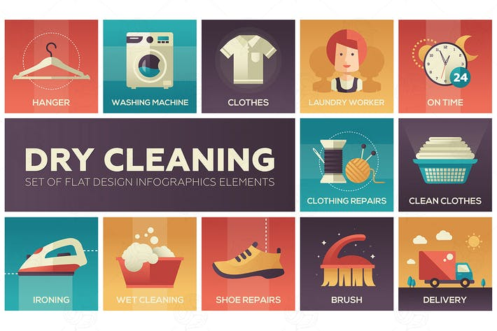 Thumbnail for Dry cleaning - set of flat design style icons