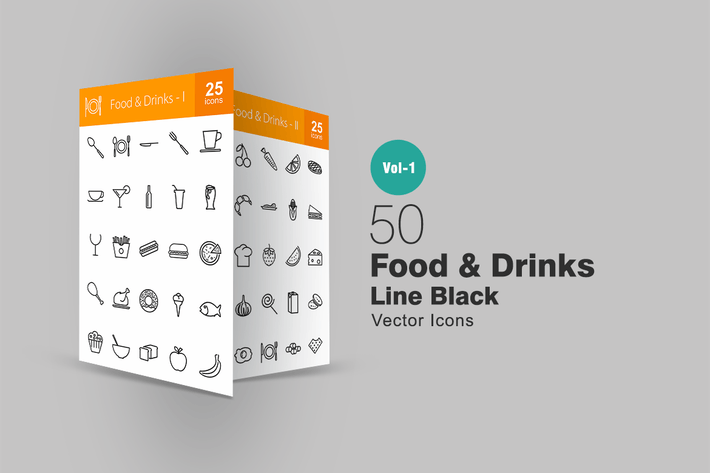 Thumbnail for 50 Food & Drinks Line Icons