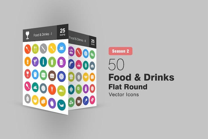 Thumbnail for 50 Food & Drinks Flat Round Icons Season II