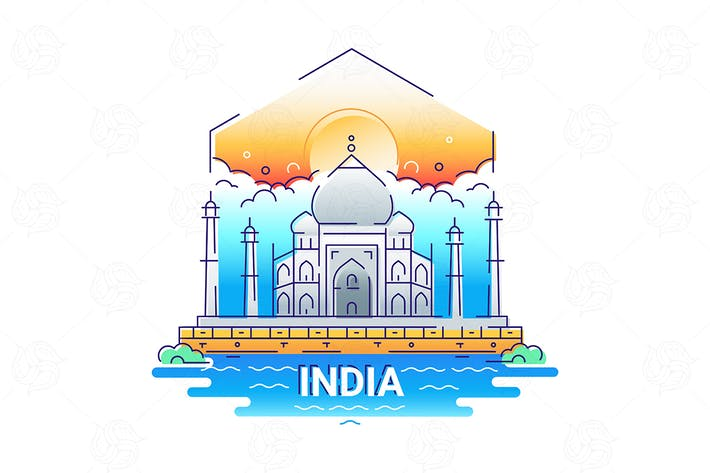 Thumbnail for India - modern vector line travel illustration