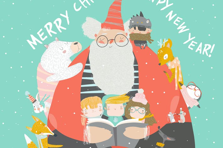 Thumbnail for Santa Claus reading books with happy kids and anim