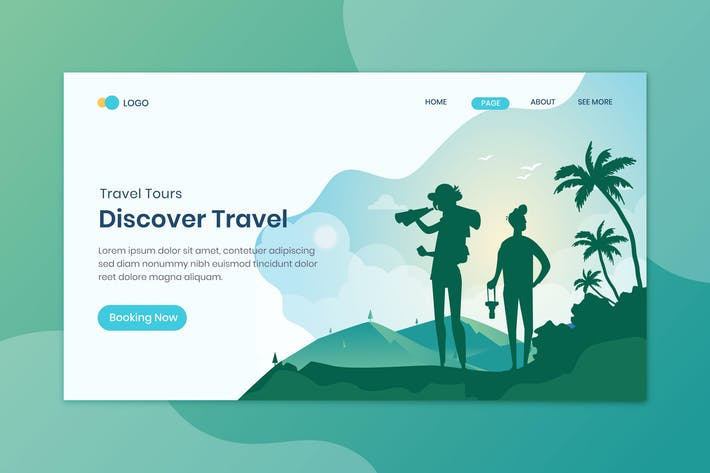 Thumbnail for Travelling Discount  Landing Page Flat Concept