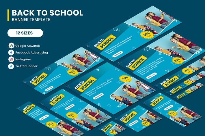 Thumbnail for Back to School Google Adwords Banner Template