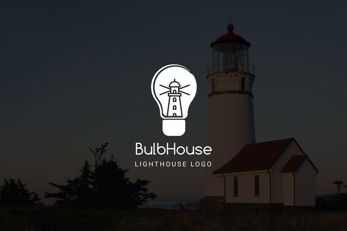 Thumbnail for Bulbhouse : Negative Space Lighthouse Logo