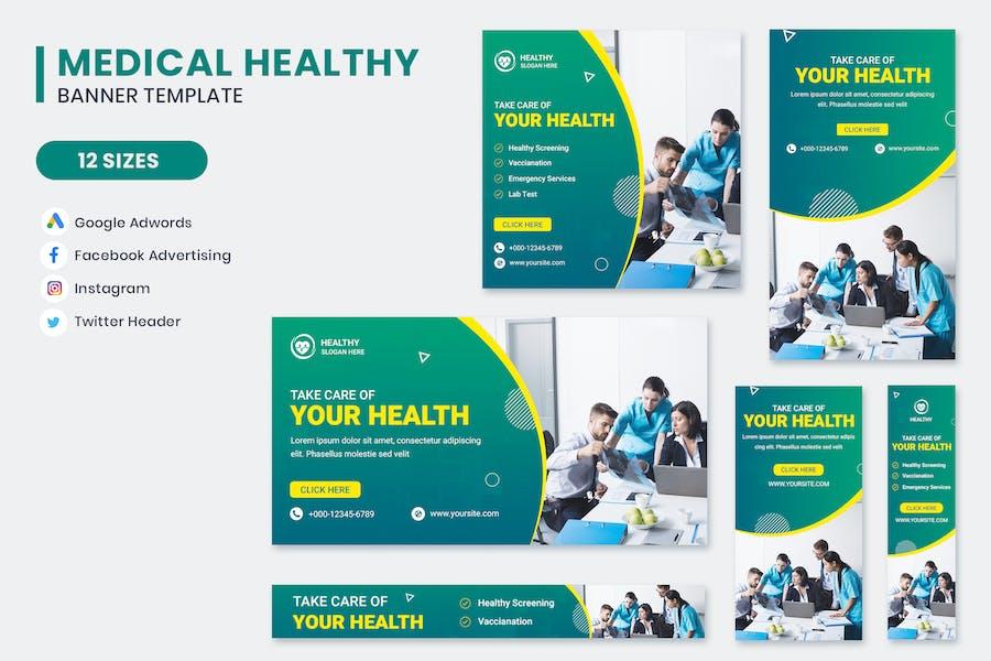Medical Healthy Banner Set Template