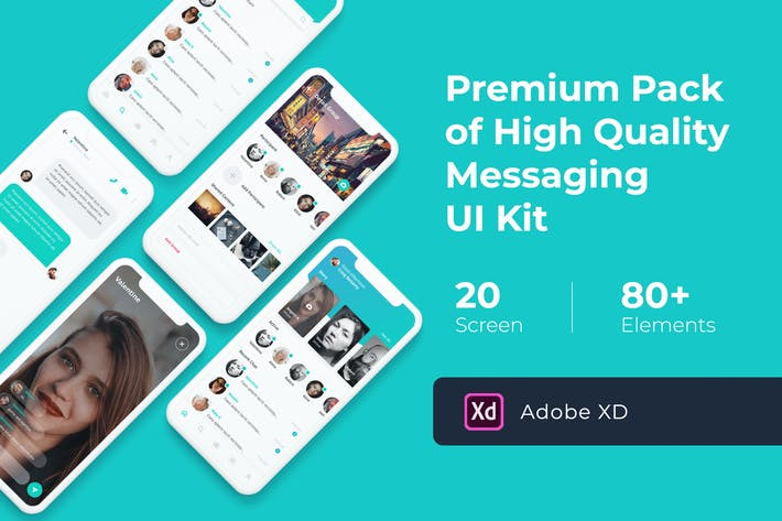Thumbnail for Messaging Mobile UI KIT for XD