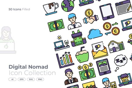 Digital Nomad Filled Icon