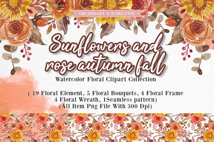 Thumbnail for Sunflowers and rose autumn fall