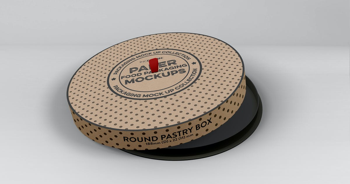 Download Paper Round CakeBox Packaging Mockup by ina717