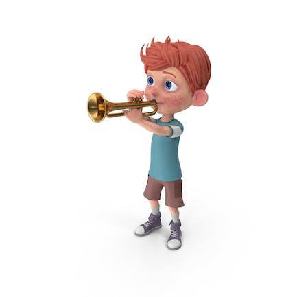 Cartoon Boy Charlie Playing Trumpet