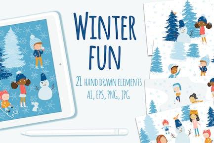 Winter Fun Vector Graphic Set