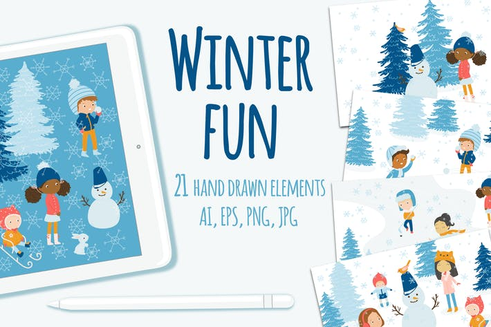 Thumbnail for Winter Fun Vector Graphic Set