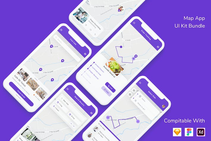 Thumbnail for Map App UI Kit Bundle