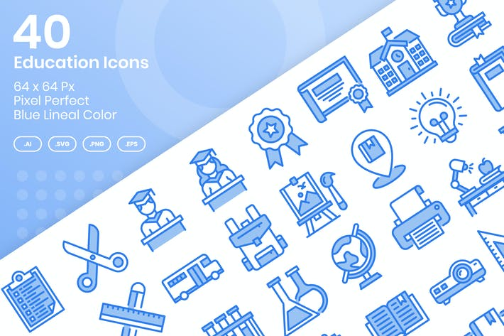 Thumbnail for 40 Education Icons Set - Blue Lineal Color
