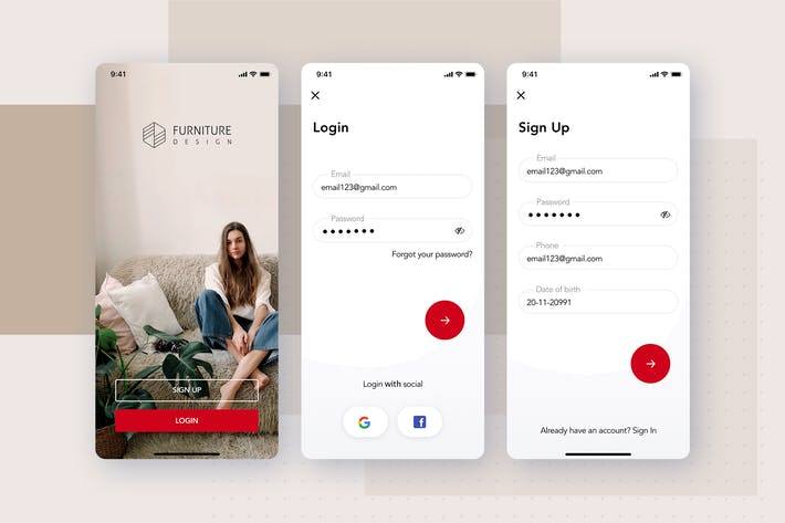 Thumbnail for Login, Signup screens for Furniture App