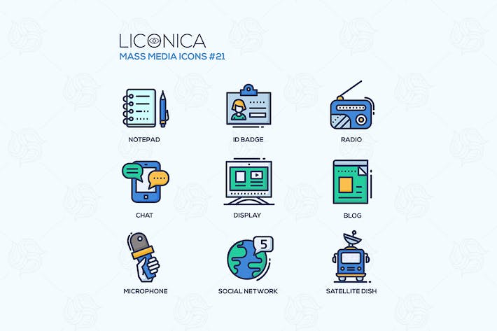 Thumbnail for Mass Media - colored modern line icons set