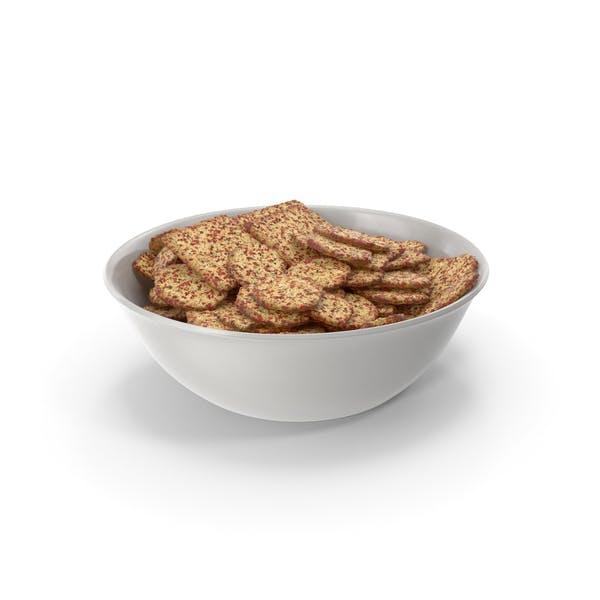 Schüssel mit gemischten würzig gewürzten Crackern