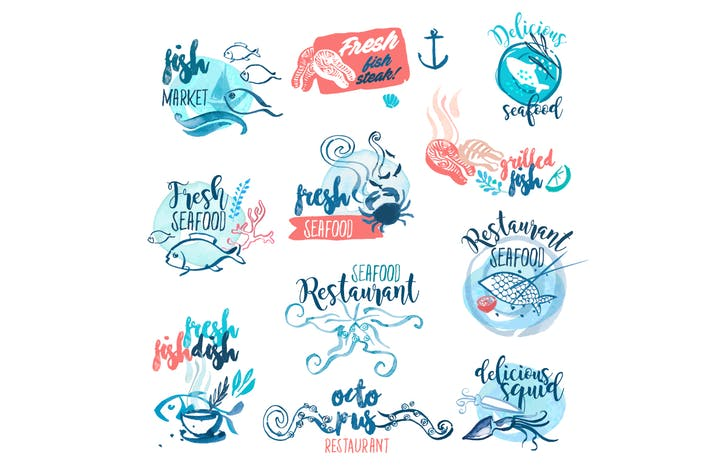 Thumbnail for Seafood Hand Drawn Watercolor Signs