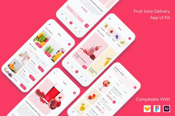 Thumbnail for Fruit Juice Delivery App UI Kit