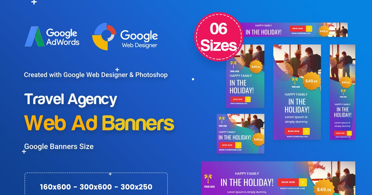 Download Travel Agency Banners Ad D57 - GWD & PSD by iDoodle