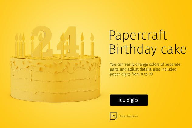 Paper model Birthday Cake DIY