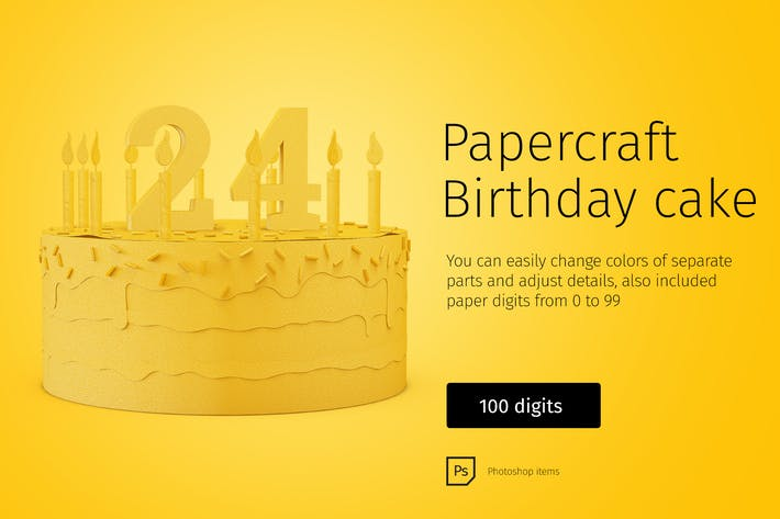 Thumbnail for Paper model Birthday Cake
