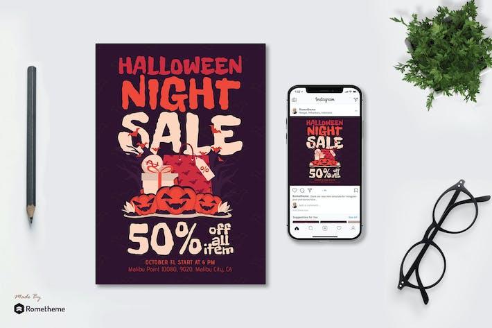Thumbnail for Halloween Night Sale - Flyer & Instagram Post GR