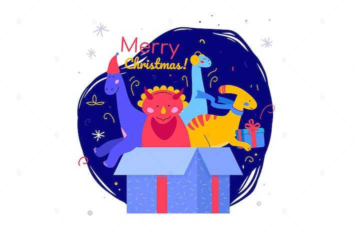 Thumbnail for Frohe Weihnachten und Happy New Year - flaches Plakat