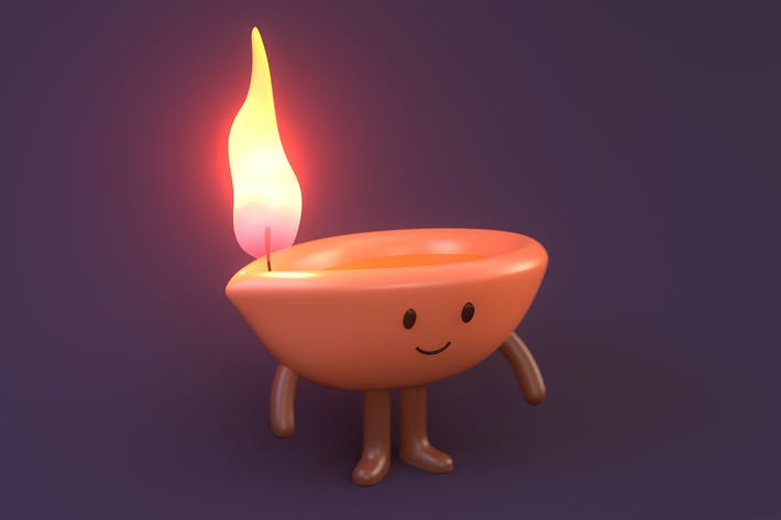 Thumbnail for Diwali Lamp Character Illustration