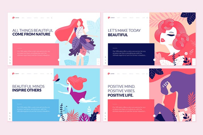 Thumbnail for Set of Beauty Web Page Design Templates