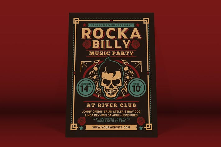Thumbnail for Rockabilly Music Party Flyer