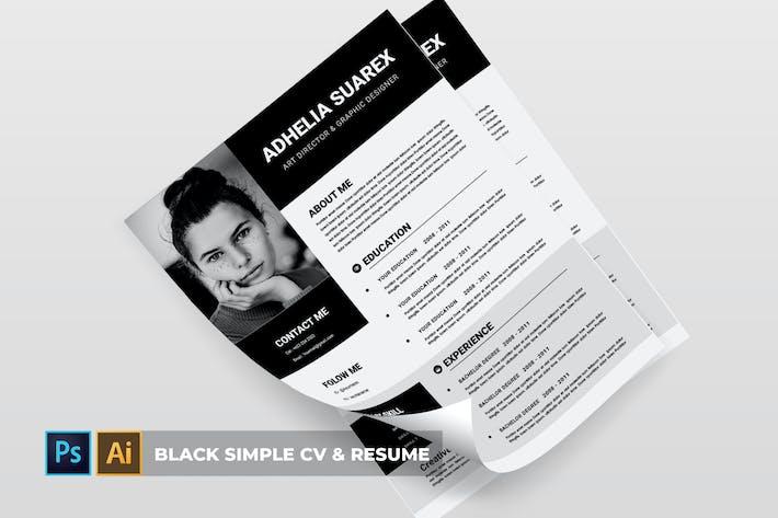 Thumbnail for Black Simple   CV & CV