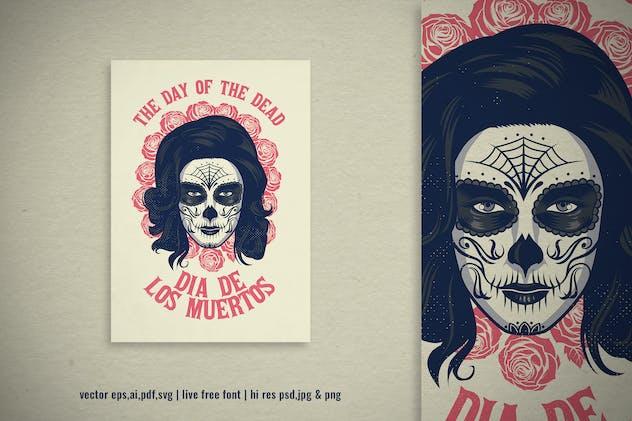 vintage grunge illustration of dia de los muertos