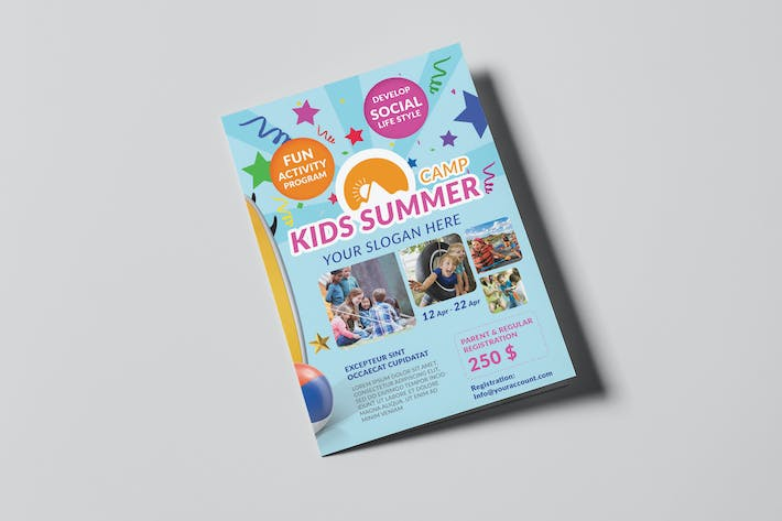 cover image for kids summer camp a5 brochure template