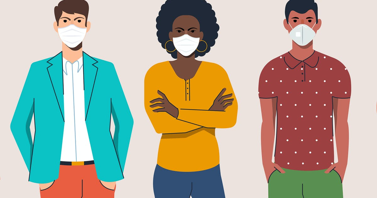 Download Men and women wearing protection mask from virus by graphics4u