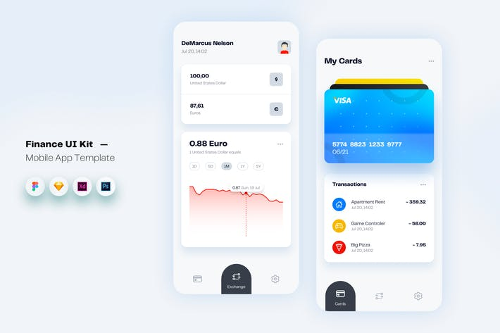 Thumbnail for Finance Money Mobile App UI Kit Template