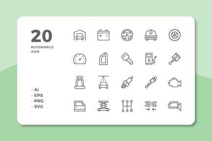 20 Automobile Icons (Line)