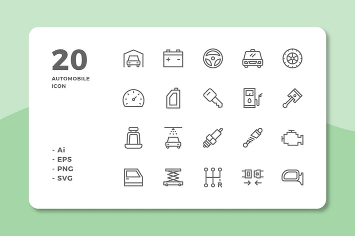 Thumbnail for 20 Automobile Icons (Line)