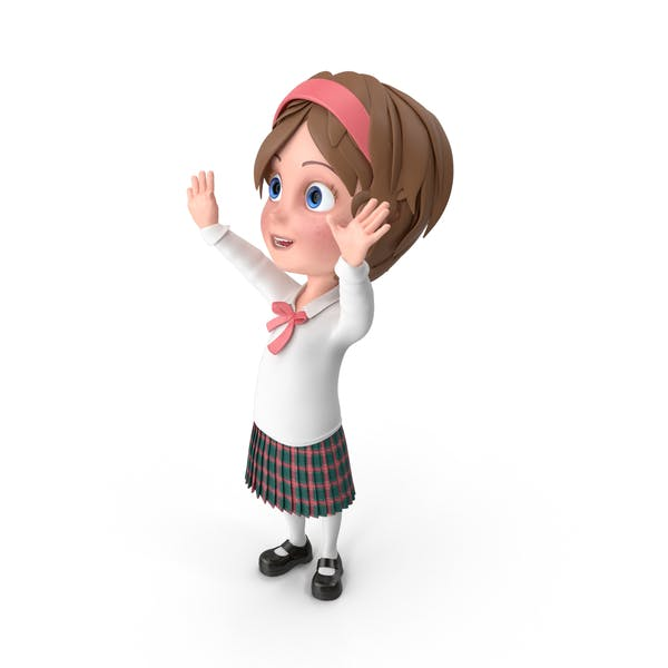Cartoon Girl Cheering