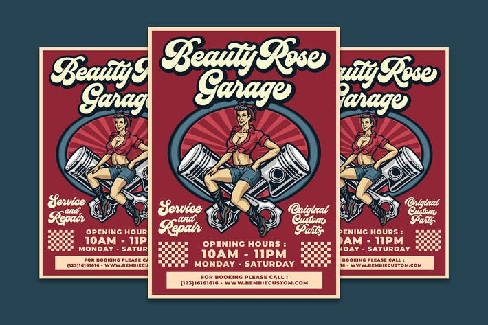 Thumbnail for Beauty Rose Garage Flyer Template