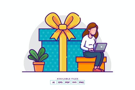 Geschenk einkaufen Illustration
