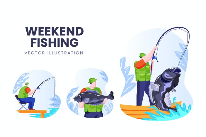 Thumbnail for Weekend Fishing Vector Character Set