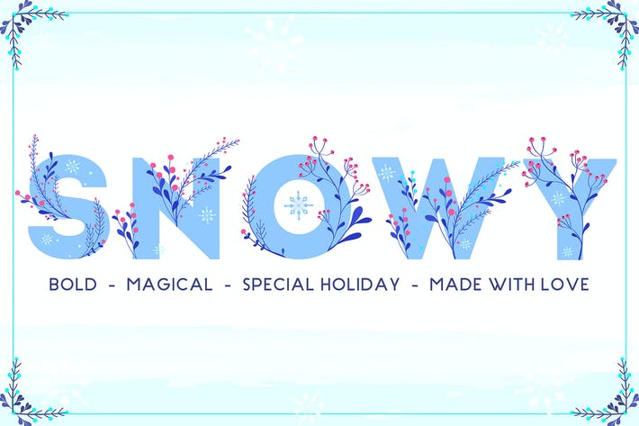Thumbnail for Snowy - Winter Floral Color Font